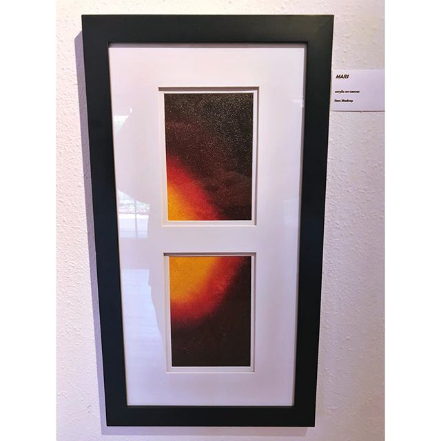 """""""Mars"""" by Stan Madray has sold, but is still up on display for the duration of his solo show """"Screwballs"""" 🌀 Come check it out this evening from 4:30pm to 9:30pm!"""
