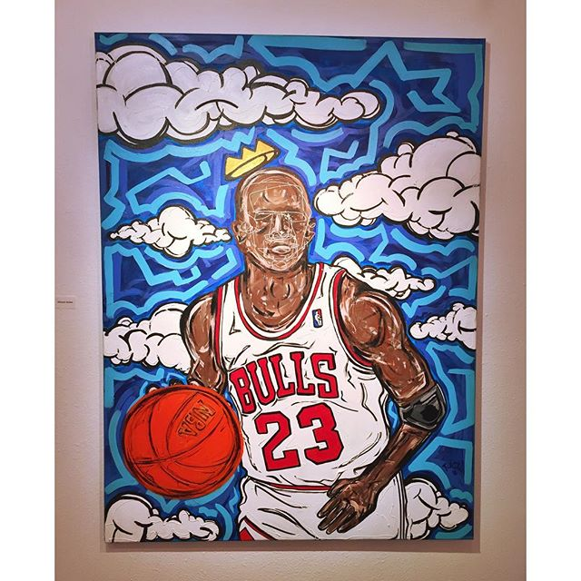 """Michael Jordan"" by @paulcolumbus is currently on display during his ""People and Color"" solo show. Come by tonight from 4:30 to 9:30 to see it yourself!"