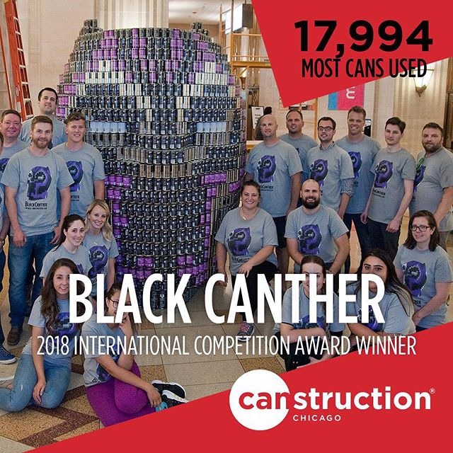 As we start gearing up for the 2019 season, let's take a second to congratulate the #BlackCANther team for their international award. Most. Cans. Used. Their work of art donated nearly 18,000 cans to help feed the food insecure in Chicago through @fooddepository - Congrats @bulleyandrews1891 @hksarchitects and @forefrontstructural 🏆🎉🙌🏼