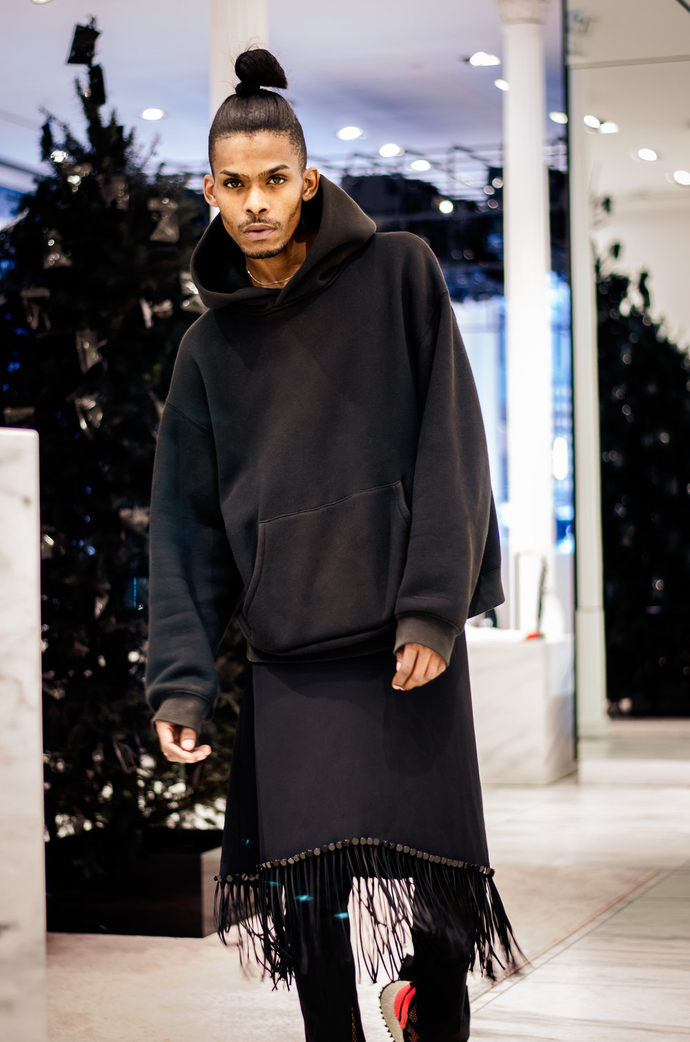 Minimal street goth possessed by the attitude of a style renegade (shot in the Alexander Wang store)