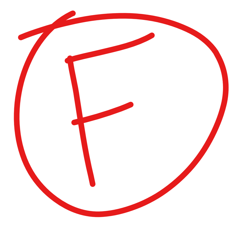 """A red """"F"""" with a circle around it, which is also red."""