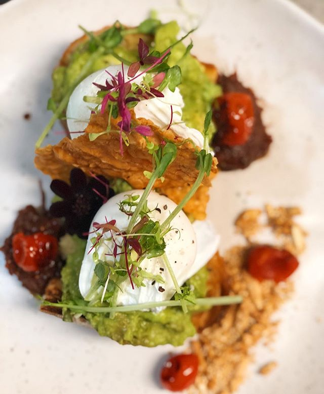 Start the week off with an alll time favourite. Smashed avocado with two poached eggs and parmesan shards on grilled ciabatta bread and tomato chutney 😀 Monday just got better! #smashedavo #avosmash #breakfast #avocado #mondaymotivation