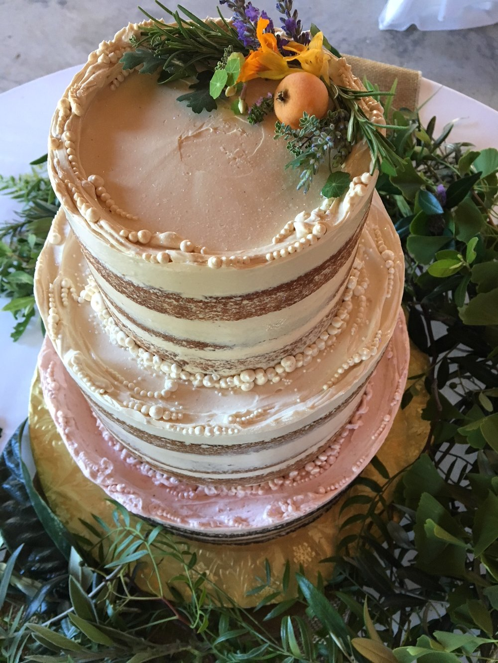 Three-Flavor Tiered Floral Cake