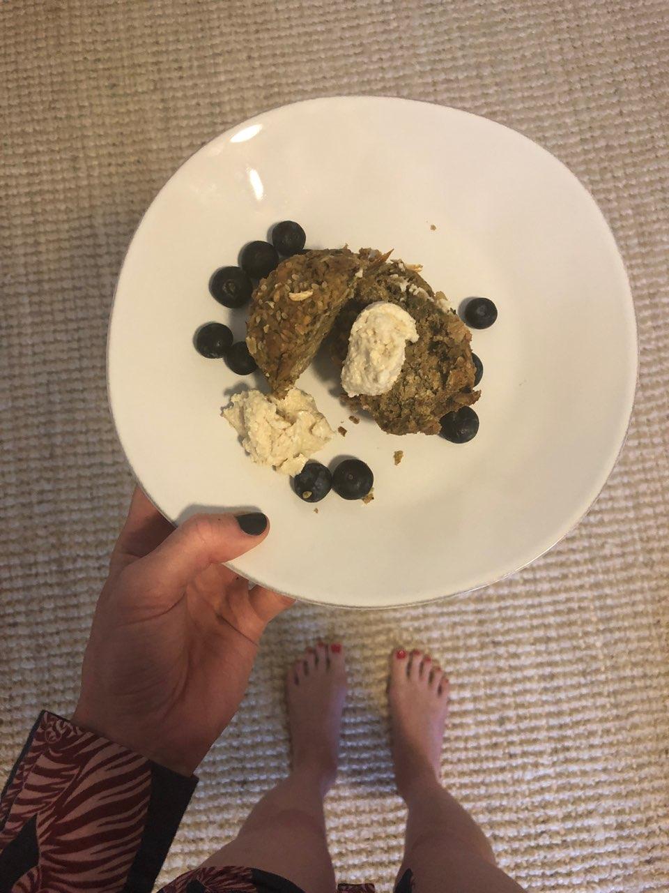 Zen Zucchini Breakfast Muffin w/ Coconut Bliss Creme + Blueberries