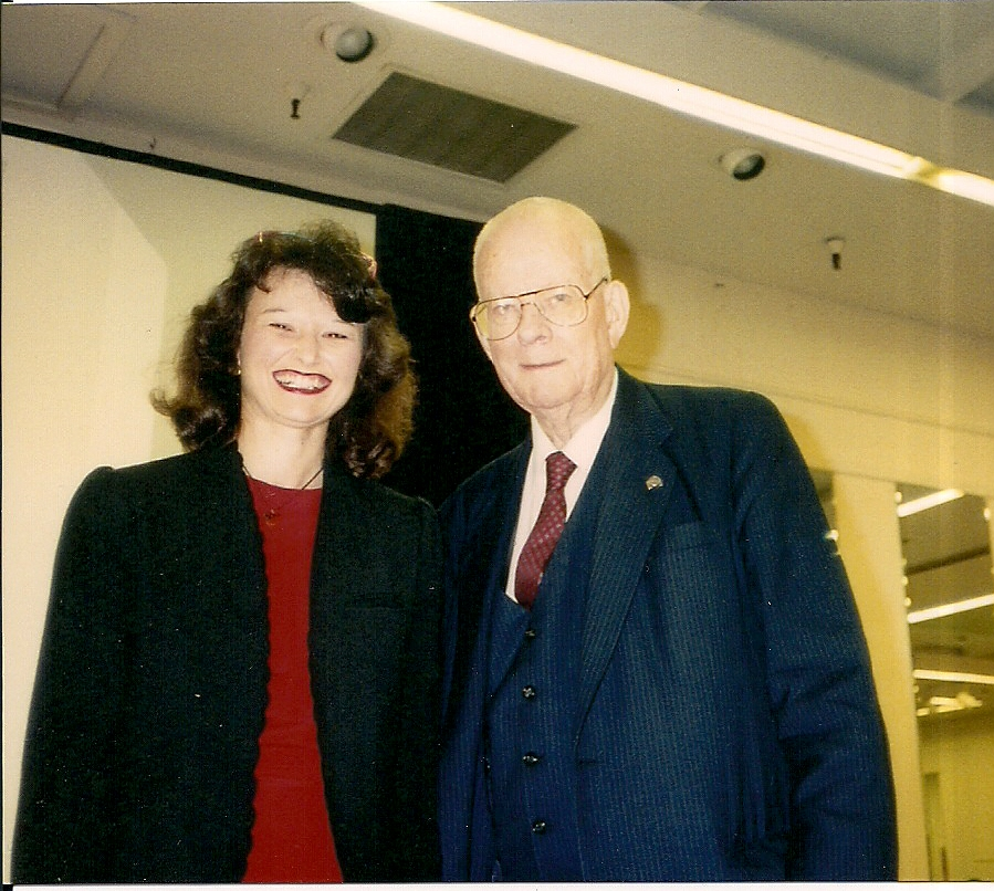 Dr. Deming and Marcia, 1990 - A protégé of Dr. W. Edwards Deming, she co-founded two Deming User Groups, is a co-founder of the non-profit In2In Thinking, and assisted at 20 of the late Dr. W. Edwards Deming's renowned 4-day seminars.