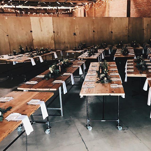 b e h i n d  t h e  s c e n e s : tables ready and waiting for the switch ➰ from ceremony to reception #eventsatforager . . . #sjforager #bayareawedding #californiaweddings #bayareaevents #weddingvenue
