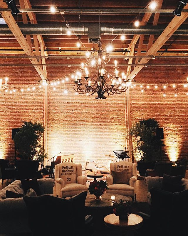 oh the things you can fill a space with that make an event spectacular 🎻🌲✨ fill the space at #eventsatforager . . . #eventspace #brickwall #brides #weddingvenue #bayareabride #bayareawedding #bayareaevents