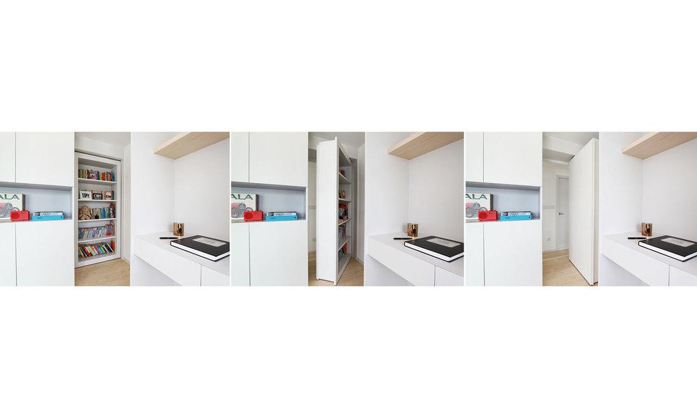 Bookshelf Door | Bookshelf which becomes a door when living area converts to bedroom mode