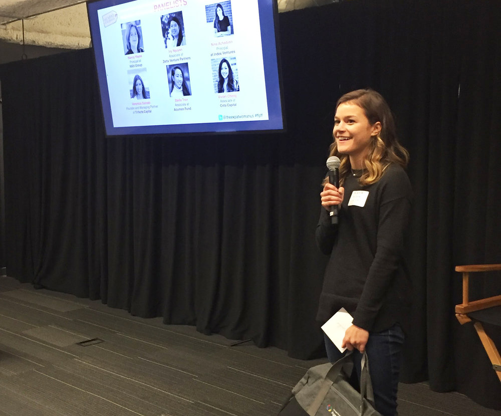 """Alexia accepting the award for her pitch at """"Female Founders Pitch Female Funders"""""""