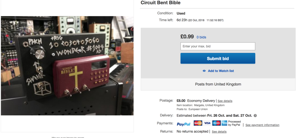 Heres the link to the listing..   https://www.ebay.co.uk/itm/Circuit-Bent-Bible/132820535755