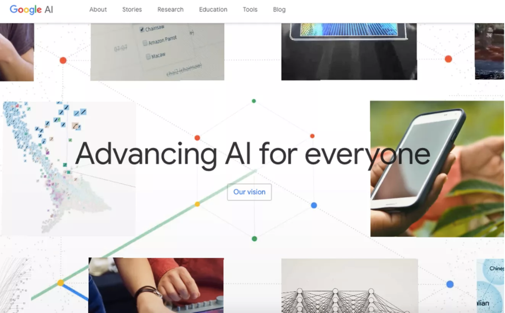 The homepage for Google AI.