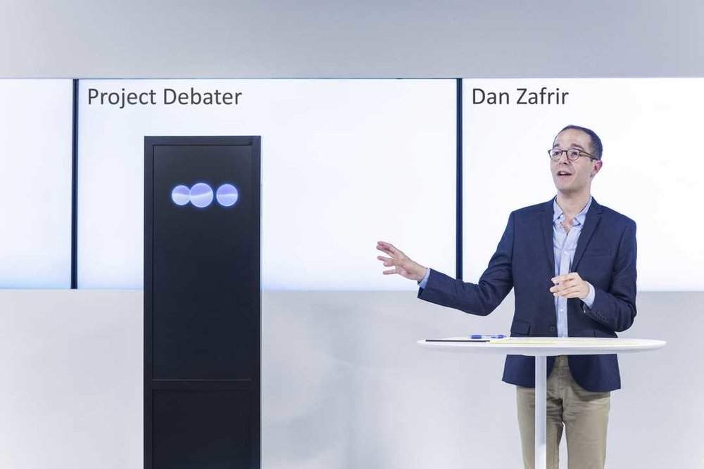 IBM Research's experimental artificial intelligence system, Project Debater, with debater Dan Zafrir. IBM/handout