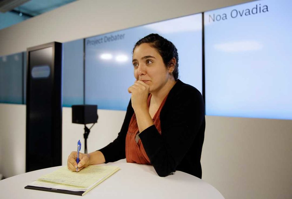 Noa Ovadia prepares for her debate against the IBM Project Debater Monday, June 18, 2018, in San Francisco. AP Photo/Eric Risberg