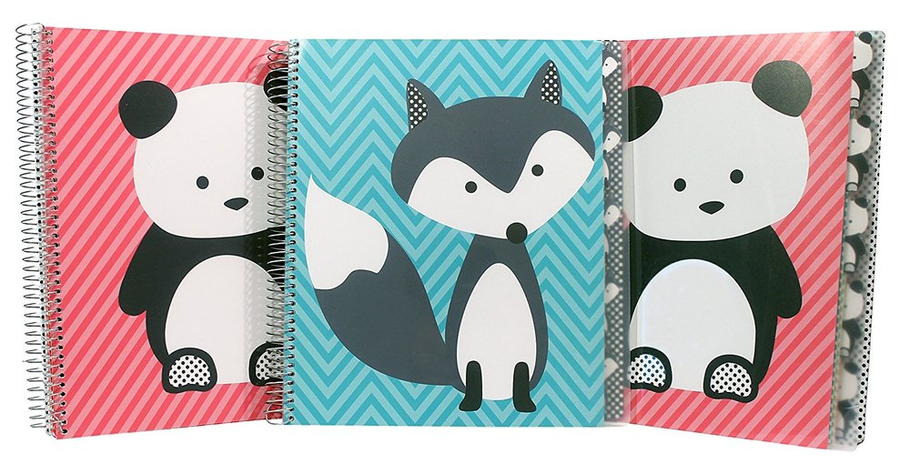 The description says two pandas and a wolf? Pretty sure that's a fox. Also, I know that the price is a bit much for three spirals- but he's my very last homeschooling weirdo. I'll never have a 12yo again who wants a panda notebook. Indulge me. We use the sections for Science and History as described in the Well Trained Mind notebook method. Buy the book if you haven't already. Ignore the schedules, use the resources.