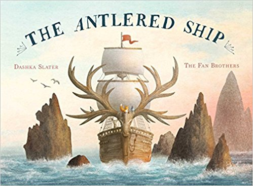 The Antlered Ship - You know it's a great picture book when you wish it were a novel. I would have gobbled up each page as a chapter. The illustrations are both playful and beautiful. Combining the slightly existential plot of sailing with an inquisitive fox and the animal crew of the Antlered Ship as they search for answers to their many questions and perhaps find adventure along the way. I found some lines laugh out loud funny.During a low moral point the animals were regretting their journey:Marco eyed the deer and pigeons.
