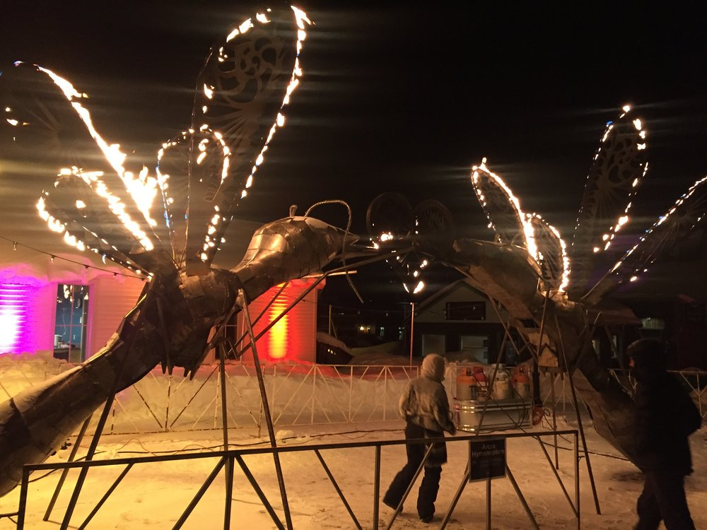 Fire Art Sculptures on the Streets in BRECK's sidestreets! Was worth the FREEZING cold!!