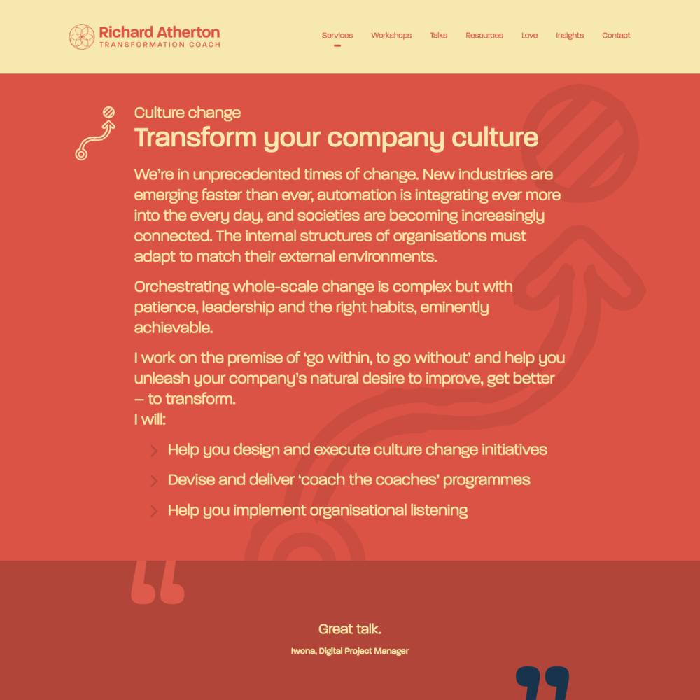 Services transform page