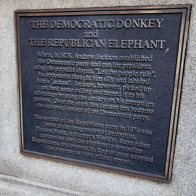 Came across this donkey statue & plaque on how @thedemocrats adopted the donkey as its symbol (though being the good Dem that I am, I already knew this!). #democrats #boston #freedomtrail