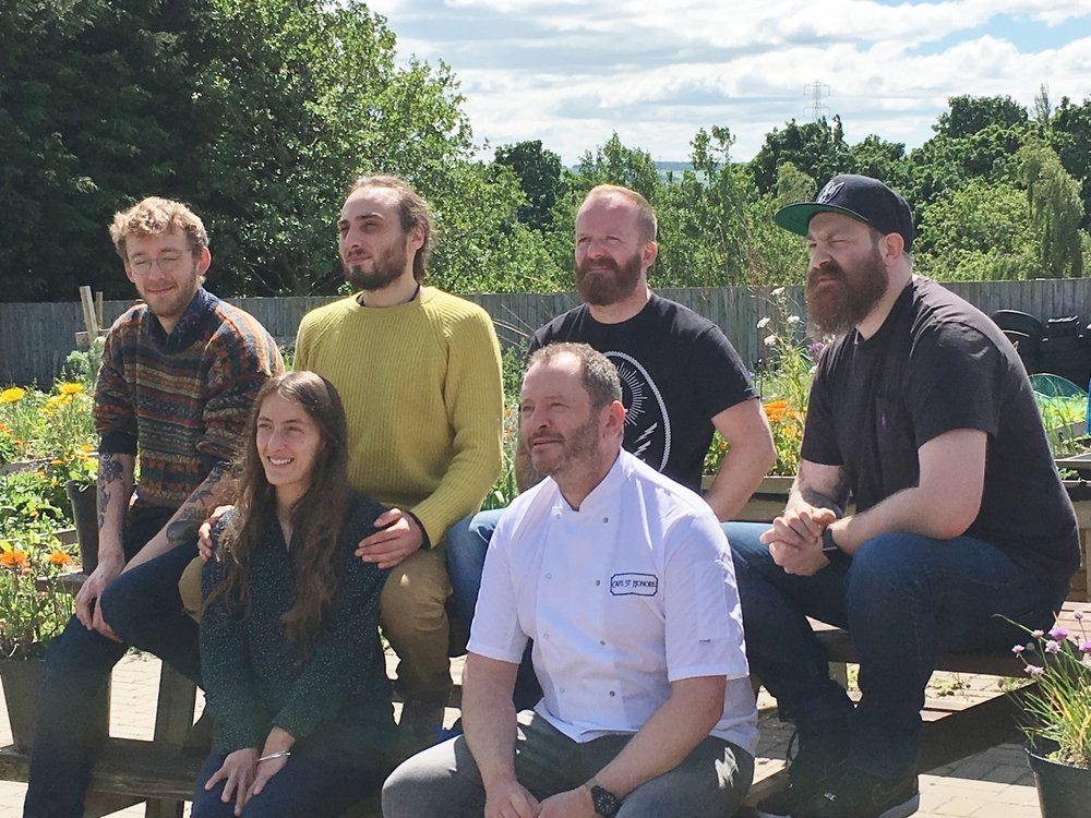 Scotland's BOOM finalists.   Back row left to right:  Isaac Rose (New Leaf Co-op), Josh Adam (Almighty Foods), Jon Anderson (Feed), Chris Grierson (Feed).  Front row left to right:  Molly Jacob (Almighty Foods), Neil Forbes (Café St Honoré)