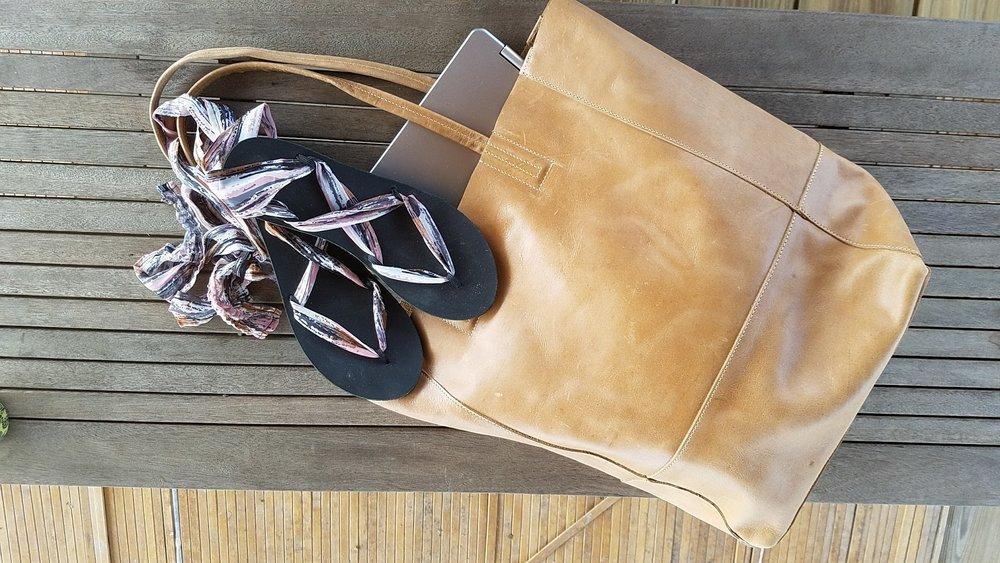 - Ribbon Sandals & Safari Bucket bag, created by Sseko Designs