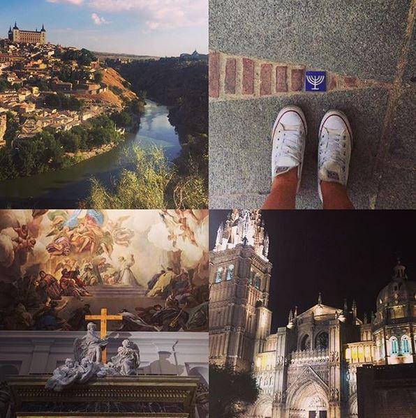 MINI REISEBREV FRA TOLEDO:  Toledo  er en ubeskrivelig vakker by. Eventyrlig! Jeg besøkte den gotiske katedralen Santa Maria de Toledo, som er fylt til randen av gull, statuer og overveldende kunstverk hvor enn du ser — nesten for mye å fordøye på én dag. Byen har gamle jødiske tradisjoner og spennende historie som jeg fikk lære litt om da vi vandret gjennom det jødiske kvarteret. Og jeg fikk smake på mye god mat, blant annet Toledos spesialitet, perlehøns. Hodet er fullt av spennende inntrykk etter denne fine lørdagen. Foto: Hedda Bjerén