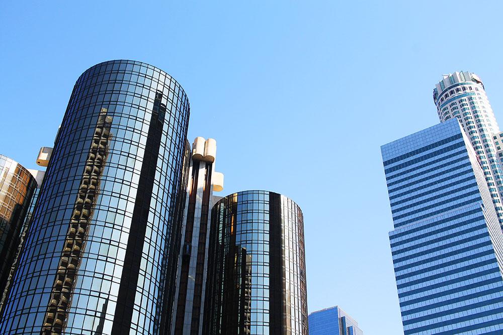 DOWNTOWN LA: Skyskrapere i fleng i sentrum av Los Angeles. Foto: Hedda Bjerén