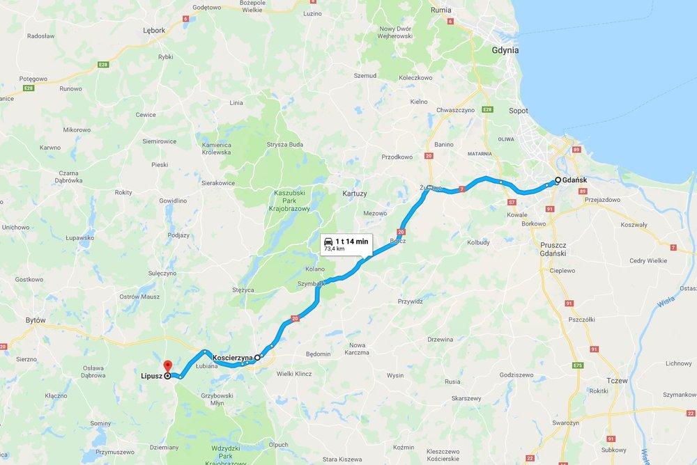 KART: Det tar omtrent en time og et kvarter å kjøre fra Gdansk til Lipusz. Foto: Google Maps
