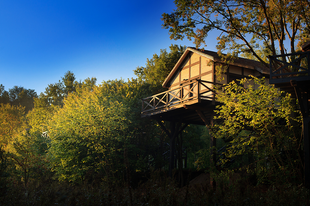 TRETOPPHYTTE: Hotellet har ni tretopphytter du også kan bo i. Foto: Dolina Charlotty