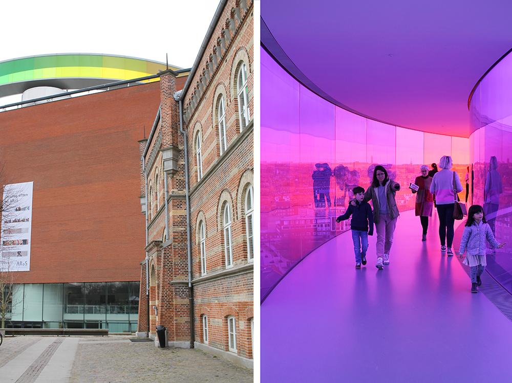 AROS: Kunstmuseet ARoS er Aarhus mest kjente kunstmuseum.På toppen av bygningen finner du Your Rainbow Panorama, en kul regnbuefarget glassgang du kan gå i. Foto: Hedda Bjerén