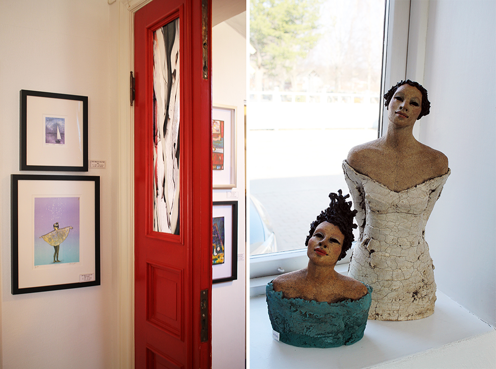 VARIERT: Galleri Fenka har mye forskjellig kunst, her finner du noe for enhver smak. Skulpturene til høyre er laget av  Ingun Dahlin.  Foto: Tenk Koffert