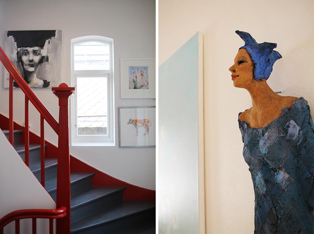 GALLERI FENKA: Et skikkelig fint og koselig galleri - anbefaler å ta turen! Den fine skulpturen til høyre er laget av  Ingun Dahlin . Foto: Tenk Koffert
