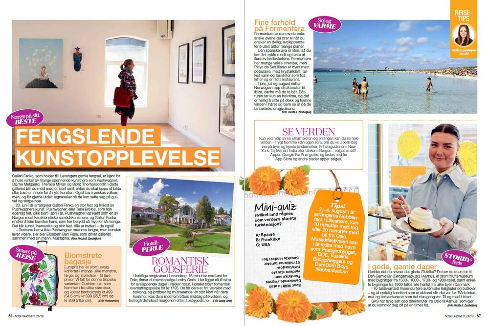 Norsk Ukeblad nr. 24 2018 - I utgave nr. 24 - 2018 av Norsk Ukeblad har jeg skrevet diverse reisetips til de faste småstoffsidene.