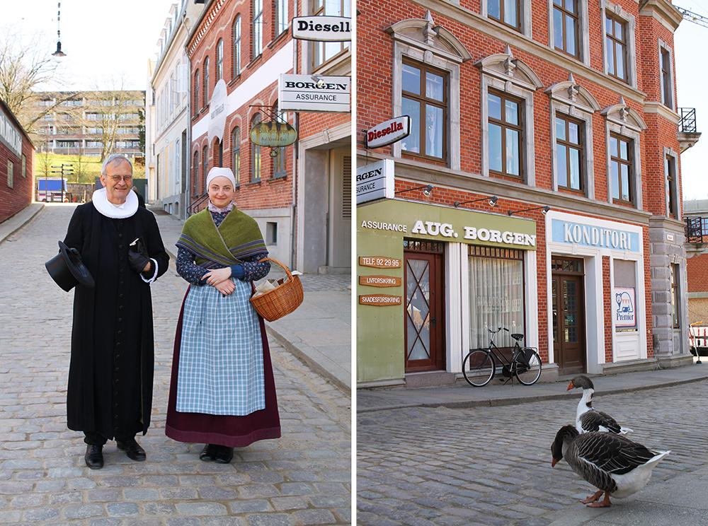 DEN GAMLE BY: Jeg møtte både folk og fugl i Den Gamle By! Foto: Tenk Koffert