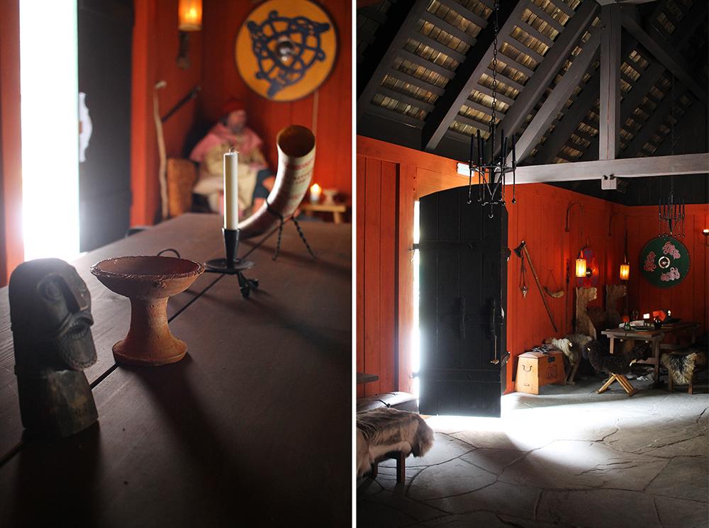 INTERIØR: Inne i høvdingens bolig er det mye fint og spennende å se. Tingene er kopier av ekte vikingsaker, og det er gjort alt for at dette skal være så autentisk som mulig. Foto: Reisebloggen Tenk Koffert