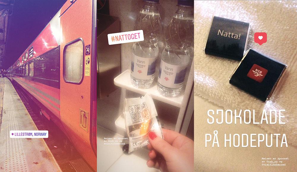 NATTOG: Bilder fra Instastory som jeg la ut da jeg tok nattoget til Trondheim. Følg meg på Instagram hvis du vil være med på reisen neste gang: @heddabjeren. 😊 Foto: Tenk Koffert