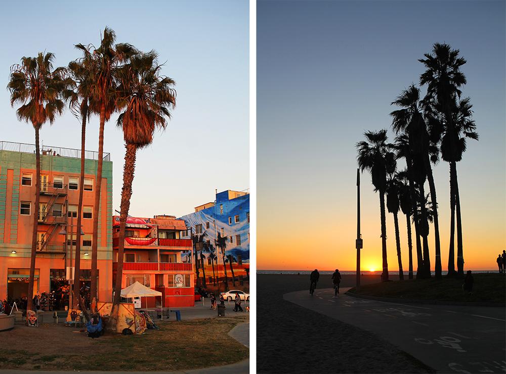 SOLNEDGANG: Fine, fargerike bygninger på Venice Beach. Selv om solnedgangen er vakker, er den beste tiden å dra til Venice tidlig på formiddagen. Foto: Hedda Bjerén