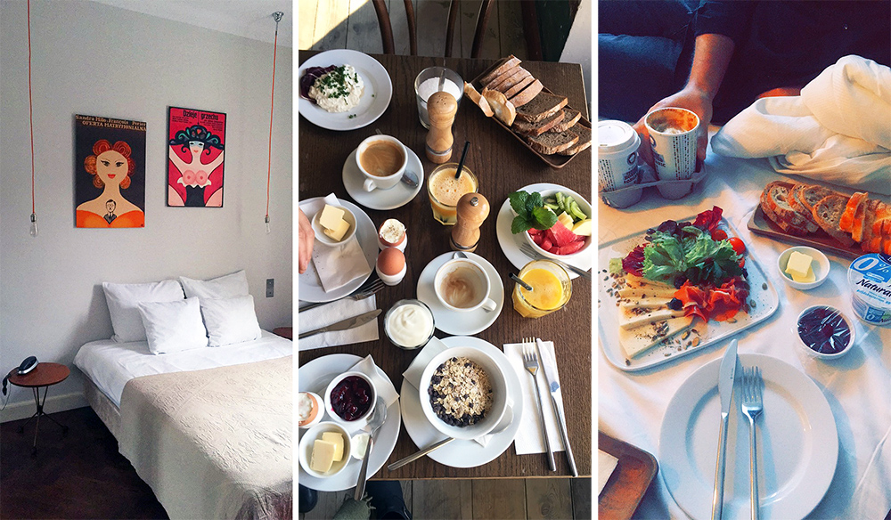 BETWEEN US: På dette kule hotellet er det kjempegod frokost. På søndager er det ikke frokost i kafeen, så da får du servert frokost på sengen isteden. Koselig! Foto: Tenk Koffert