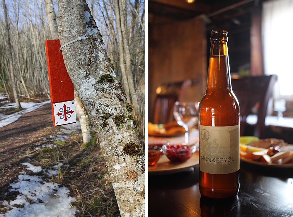 MUNKEBY-ØL: Munkeby-ølet er brygget på Inderøy gårdsbryggeri. Det smaker spesielt godt etter en lang gåtur på pilegrimsleden som går forbi Munkeby. Foto: Tenk Koffert