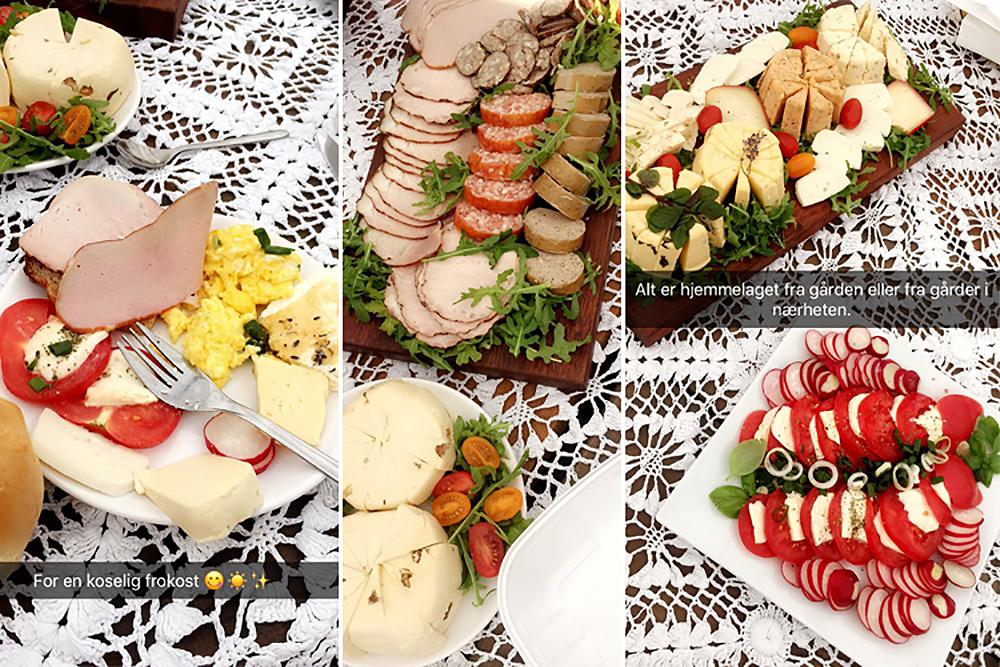 FRA SNAPCHAT: Her er et par av snappene jeg la ut før vi spiste. Maten var så god! Foto: Tenk Koffert