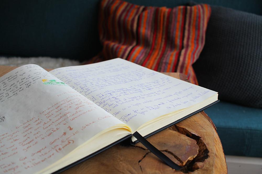 HYTTEBOK: Husk å skrive i hytteboka før dere drar hjem igjen! Foto: Tenk Koffert