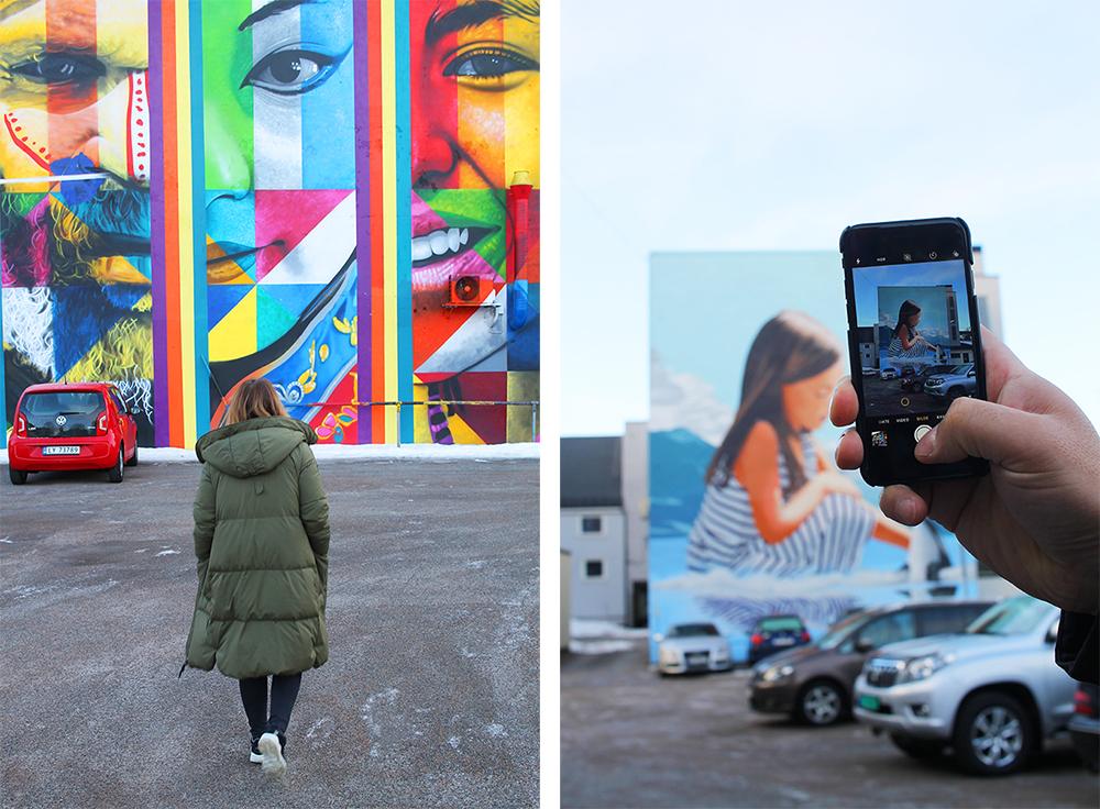 INSTAVENNLIG: Mange Instagram-vennlige steder i Sandefjord! 🤩 Dette er to av åtte vegger som er blitt malt i Sandefjord av 10 internasjonale gatekunstnere, som en del av kunstprosjektet Art For All. Foto: Reisebloggen Tenk Koffert