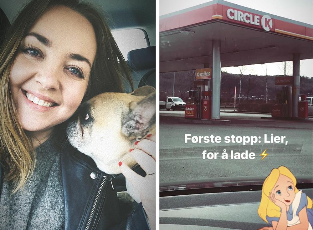 ROADTRIP MED ELBIL: Jeg hadde med meg min franske bulldog, Snoopy, og e-Golfen min på roadtrip til Dalen. Startpunktet var Lillestrøm, og allerde i Lier måtte jeg lade litt - for sikkerhets skyld. 😯 Foto: Tenk Koffert/Instagram:  @tenkkoffertcom