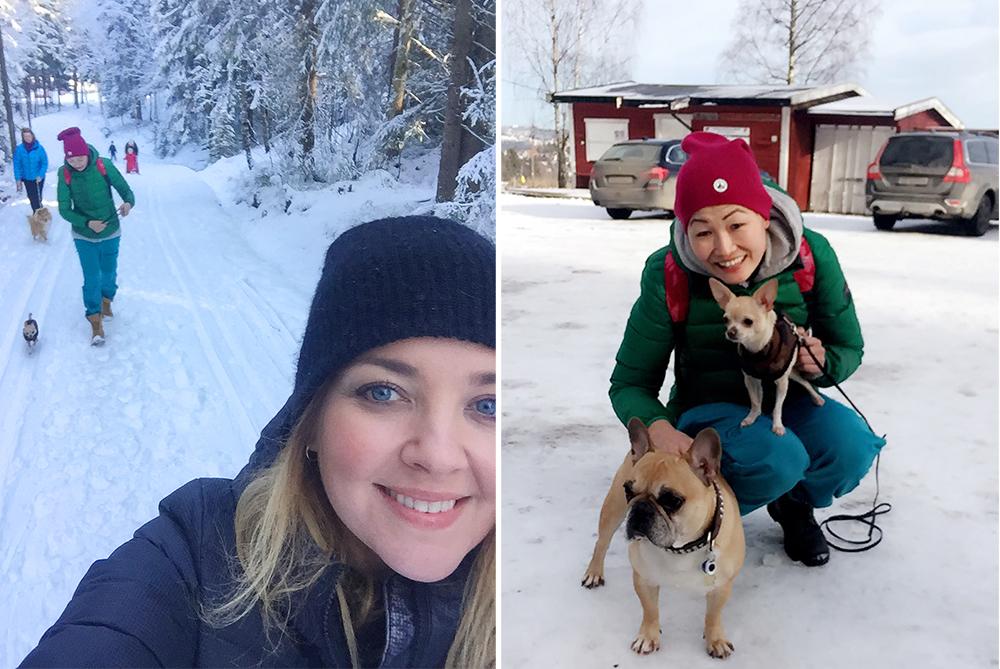 FEBRUAR: Tuir til Mariholtet med min venninne, Marianne, og hundene våre. Foto: Tenk Koffert