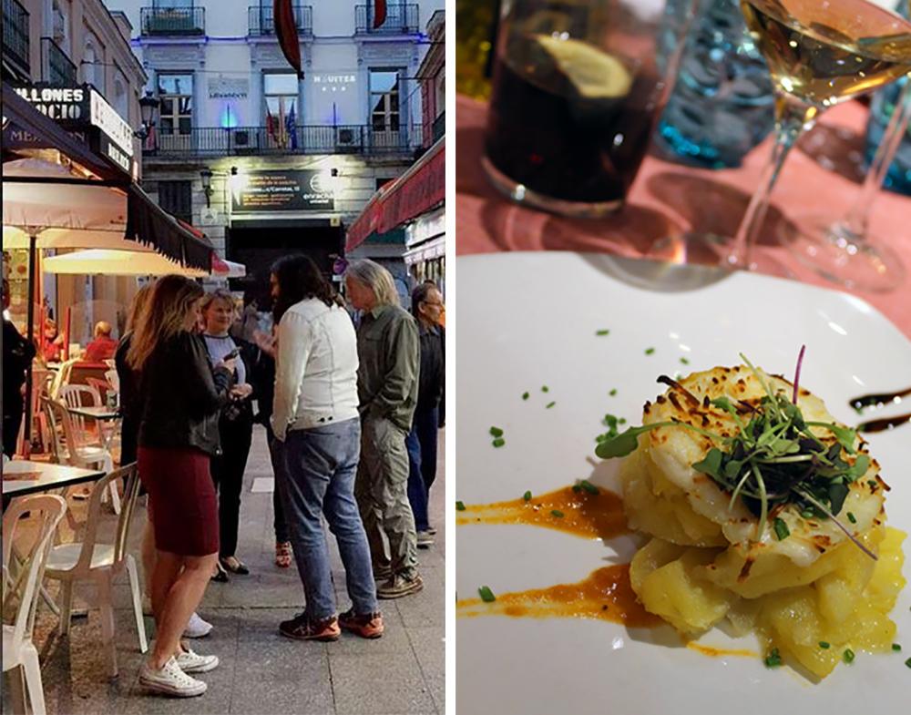 MAI: Neste stopp var Madrid, der var vi på tapas-til-tapas-runde, noe som er typisk for byen. Et par glass vin og noen småretter på hvert sted. Gøy og godt! 😋👍 Foto:  Hamaca Reiseblogg  og Tenk Koffert