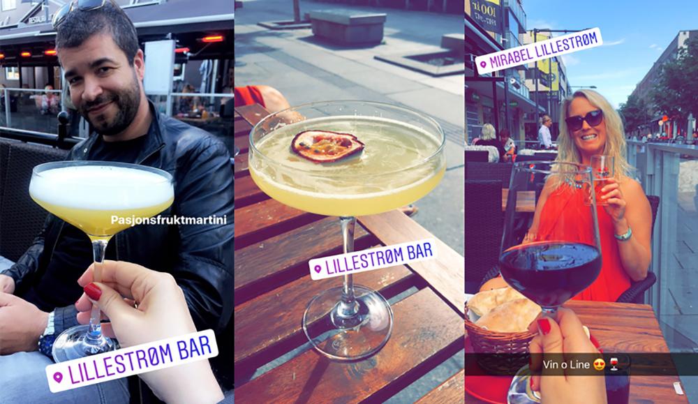 JULI: Det ble noen drinker i Lillestrøm i sommer og. Her sammen med mannen min og min venninne, Line. Hvis du noen gang kommer til Lillestrøm, prøv pasjonsfruktmartinien på  Lille Strøm Bar . Nam! Foto: Tenk Koffert
