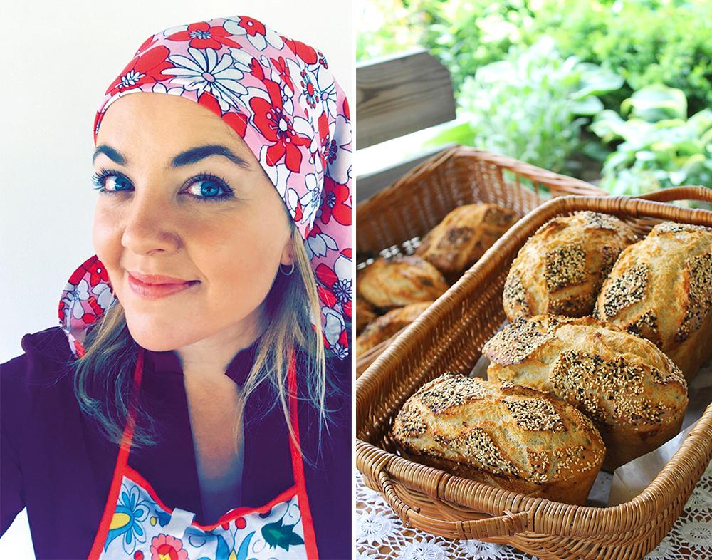 JUNI: Så dro jeg til Lipusz i Polen, hjem til en koselig dame som heter Karola Bober. Hun lærte meg å bake surdeigsbrød på den gamle måten. Vi brukte blader istedenfor formfett i 120 år gamle brødformer. Brødene ble stekt ute i en gammel ovn. Beste brødet jeg har smakt! 😋 Mer om det kommer på Tenk Koffert snart. Foto: Tenk Koffert