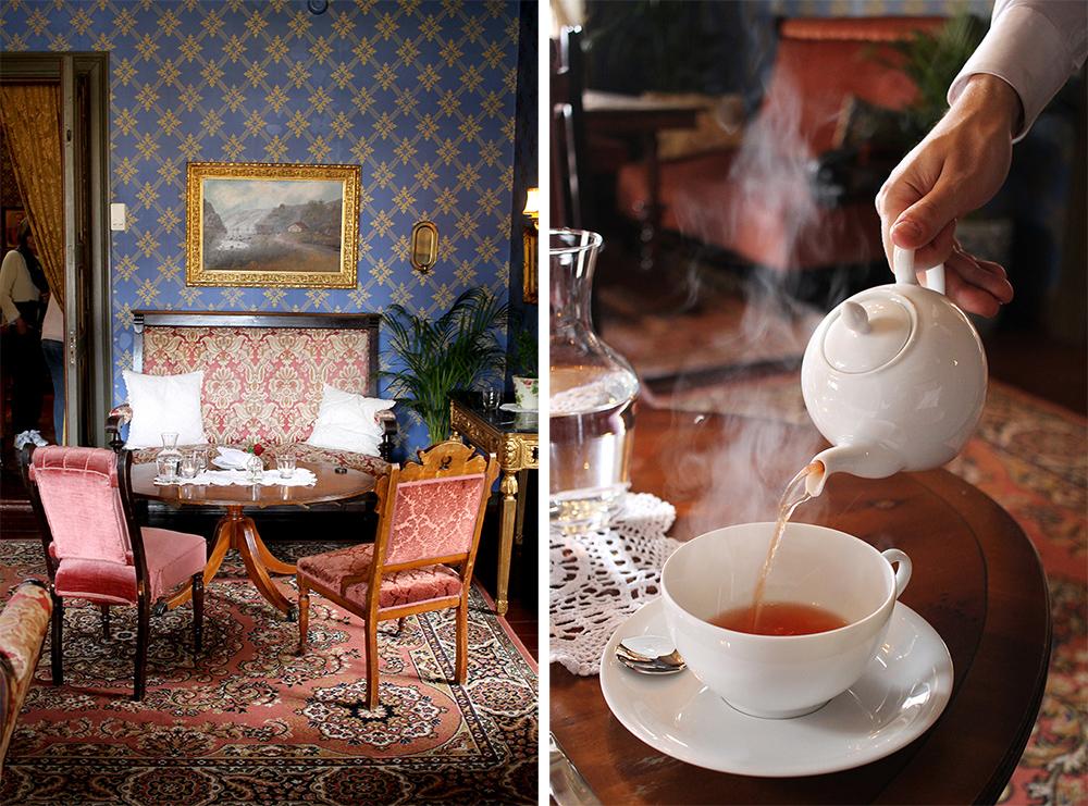 DAMESALONGEN: Hele hotellet er nydelig innredet, i den gamle, fine stilen. Mange av møblene har stått her siden hotellet var nytt. I disse vakre omgivelsene serveres afternoon tea. Foto: Tenk Koffert