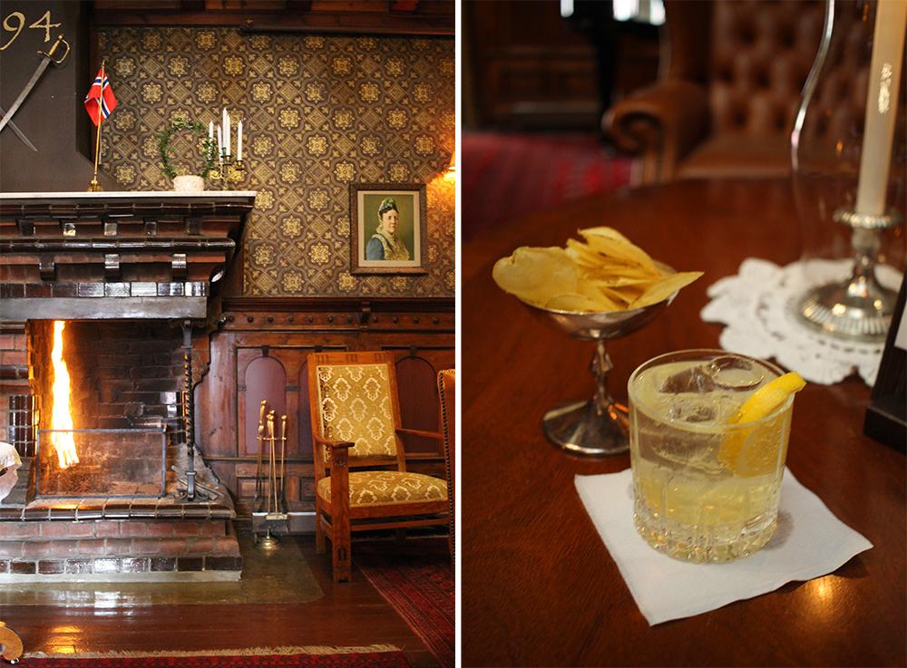 PEISESTUEN PÅ DALEN HOTEL: Her er det hyggelig å ta seg en drink før middag. Foto: Tenk Koffert