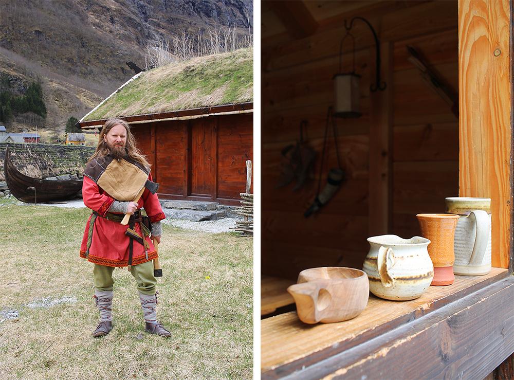 ØKSEKAST: Denne vikingen sto og øvde seg på øksekast. Han lærer deg gjerne hvordan! Flere av tingene i landsbyen er laget her. Gå rundt i landsbyen og snakk med vikingene, de viser deg gjerne sitt håndverk. Foto: Reisebloggen Tenk Koffert