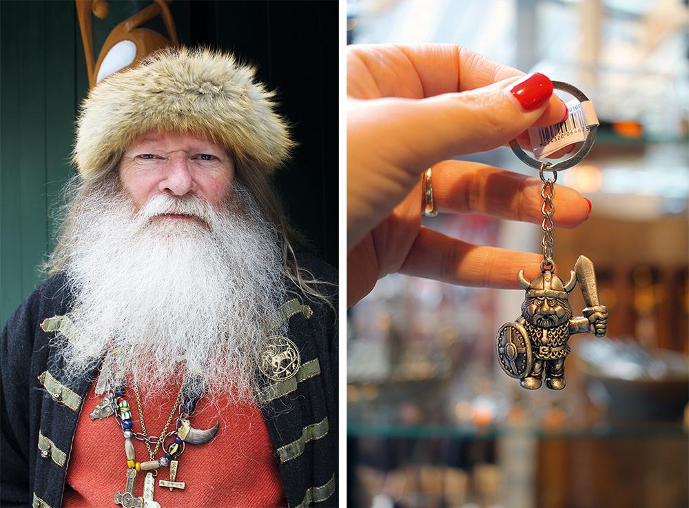 VIKINGER: I Gudvangen trenger du ikke nøye deg med å kjøpe en liten metallviking - du kan også hilse på en helt ekte vikinghøvding! Foto: Reisebloggen Tenk Koffert